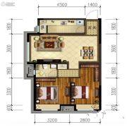 金地锦城2室2厅1卫80平方米户型图