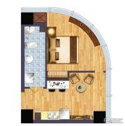 绿地商务城1室1厅1卫44平方米户型图