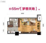 碧桂园御长白1室1厅1卫55平方米户型图