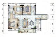 保利香槟国际3室2厅2卫118平方米户型图