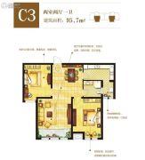 东方星城2室2厅1卫95平方米户型图