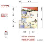 金湾步行街2室2厅1卫56平方米户型图