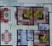 春天海景3室1厅2卫132平方米户型图