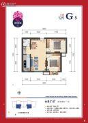 美好家园2室2厅1卫87平方米户型图
