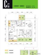 苹果社区3室2厅2卫120平方米户型图