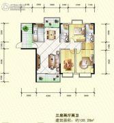 岳塘映象3室2厅2卫130平方米户型图