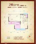 泰瑞名轩2室2厅1卫70平方米户型图