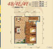 君悦珑庭2室2厅1卫89--90平方米户型图