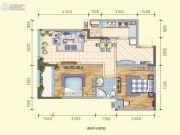 润莱金座2室2厅1卫87平方米户型图