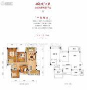 金科美湖湾4室2厅2卫117平方米户型图