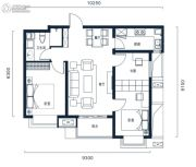 万科高新华府3室2厅1卫90平方米户型图