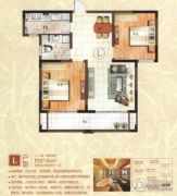 绿地泰晤士新城2室2厅1卫87平方米户型图