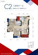 中国摩3室2厅1卫69平方米户型图