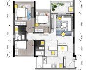 金映时代花园3室2厅2卫89平方米户型图