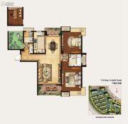 冠城大通蓝湾3室2厅2卫128平方米户型图