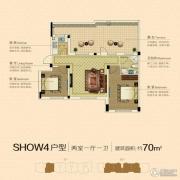 澳海澜庭2室1厅1卫70平方米户型图