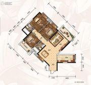 龙湾公馆3室2厅2卫131平方米户型图