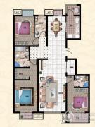 行宫・御东园3室2厅2卫180平方米户型图