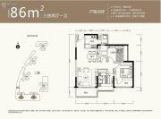 京基御景中央3室2厅1卫86平方米户型图