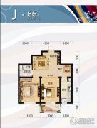 唐轩北廷2室2厅1卫66平方米户型图