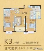 嘉禾一方2室2厅2卫103平方米户型图