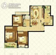 恒大山水城3室2厅1卫88平方米户型图