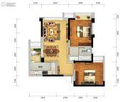瑞升望江橡树林2室2厅1卫67平方米户型图