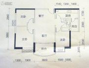 穗丰金湾3室2厅1卫90平方米户型图