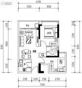 华发城建未来荟2室2厅2卫63平方米户型图