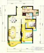 鹿茵华庭2室2厅2卫77平方米户型图