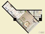 逸景湾1室1厅1卫54平方米户型图