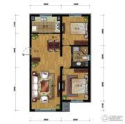 万科蓝山2室2厅1卫90平方米户型图
