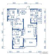 半山�庭3室2厅2卫104平方米户型图