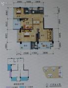 碧海新城3室2厅2卫89平方米户型图