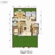 天山熙湖三期4室2厅3卫144平方米户型图