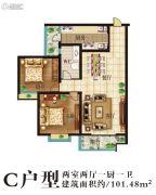新城国际2室2厅1卫101平方米户型图