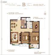 泰华・梧桐苑一期3室2厅1卫101--104平方米户型图