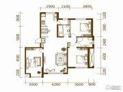 蔚蓝国际3室2厅2卫142平方米户型图