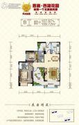 西湖花园2室2厅2卫107--109平方米户型图