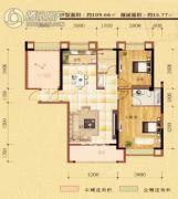东方名城2室2厅2卫109平方米户型图
