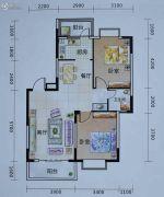 艺海苑2室2厅1卫87平方米户型图
