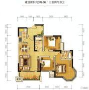 金江外滩3室2厅2卫109平方米户型图