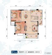 随州左岸星城四期2室2厅1卫89平方米户型图