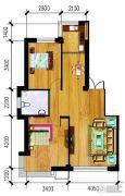 万泉・欧博城2室2厅1卫89平方米户型图