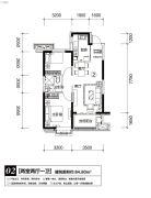 恒大御景半岛2室2厅1卫0平方米户型图