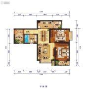 怡景尚居2室2厅1卫88平方米户型图