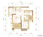 金科时代中心2室2厅1卫59平方米户型图