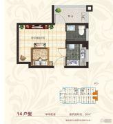 国宾府1室1厅1卫38平方米户型图