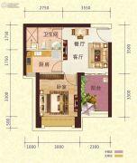 恒大御景半岛1室1厅1卫46平方米户型图