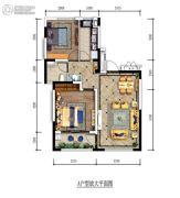 万科银海泊岸2室2厅1卫85平方米户型图